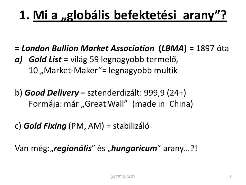 """1. Mi a """"globális befektetési arany ."""