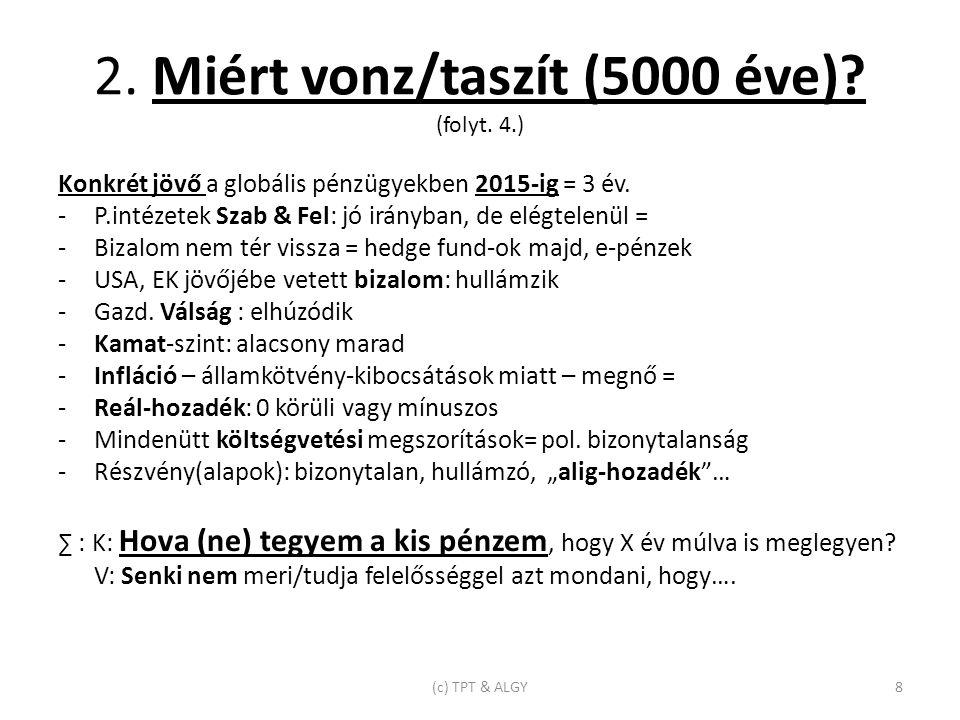 2. Miért vonz/taszít (5000 éve). (folyt. 4.) Konkrét jövő a globális pénzügyekben 2015-ig = 3 év.