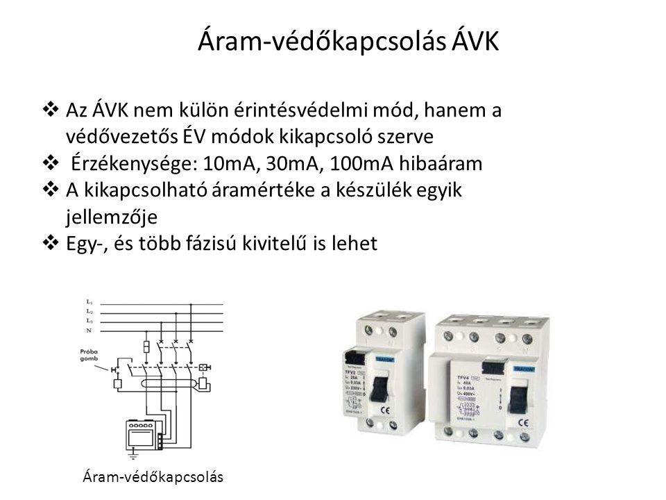 Áram‐védőkapcsolás ÁVK  Az ÁVK nem külön érintésvédelmi mód, hanem a védővezetős ÉV módok kikapcsoló szerve  Érzékenysége: 10mA, 30mA, 100mA hibaára