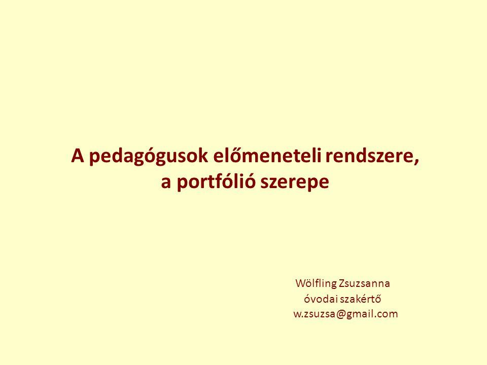 A pedagógusok előmeneteli rendszere, a portfólió szerepe Wölfling Zsuzsanna óvodai szakértő w.zsuzsa@gmail.com
