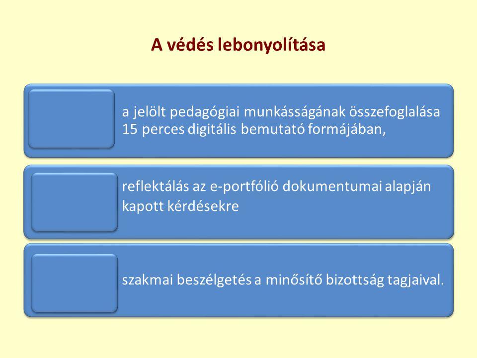 A védés lebonyolítása a jelölt pedagógiai munkásságának összefoglalása 15 perces digitális bemutató formájában, reflektálás az e-portfólió dokumentuma