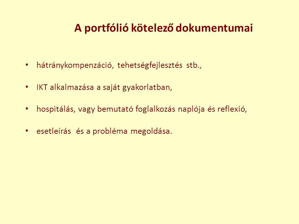 A portfólió kötelező dokumentumai • hátránykompenzáció, tehetségfejlesztés stb., • IKT alkalmazása a saját gyakorlatban, • hospitálás, vagy bemutató f