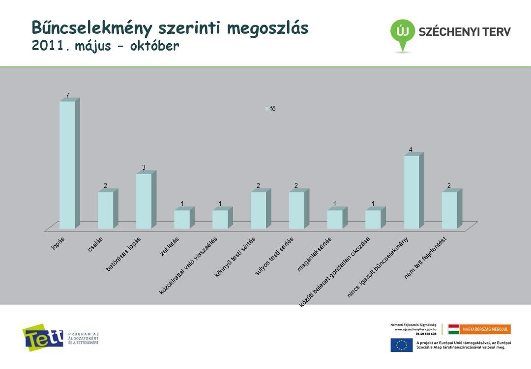 Bűncselekmény szerinti megoszlás 2011. május - október