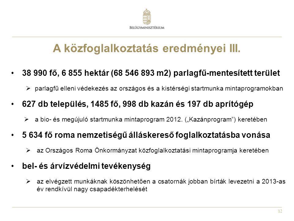 12 •38 990 fő, 6 855 hektár (68 546 893 m2) parlagfű-mentesített terület  parlagfű elleni védekezés az országos és a kistérségi startmunka mintaprogr