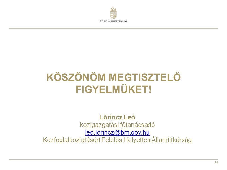 14 KÖSZÖNÖM MEGTISZTELŐ FIGYELMÜKET! Lőrincz Leó közigazgatási főtanácsadó leo.lorincz@bm.gov.hu Közfoglalkoztatásért Felelős Helyettes Államtitkárság