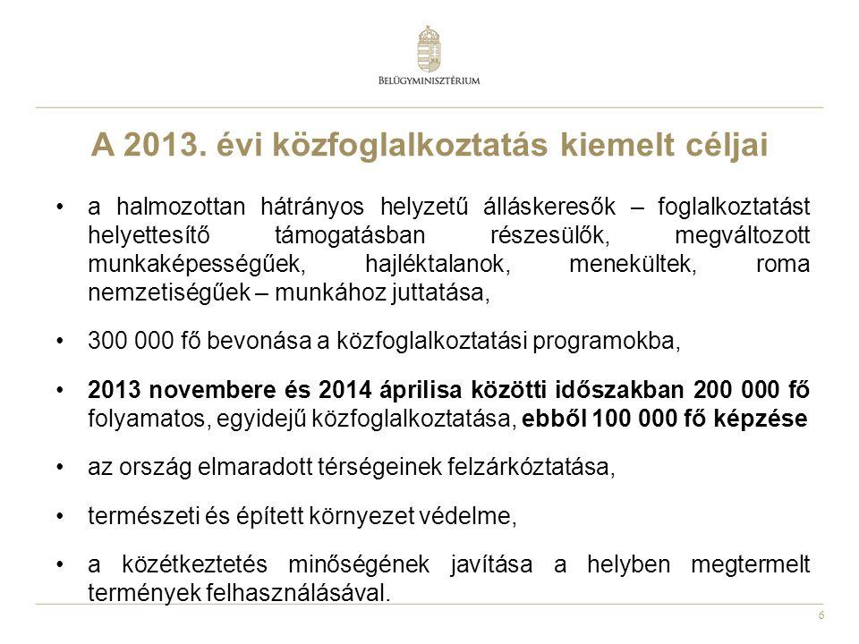 6 A 2013. évi közfoglalkoztatás kiemelt céljai •a halmozottan hátrányos helyzetű álláskeresők – foglalkoztatást helyettesítő támogatásban részesülők,