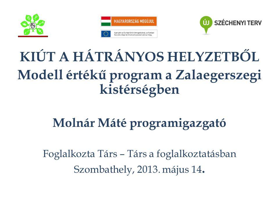 KIÚT A HÁTRÁNYOS HELYZETBŐL Modell értékű program a Zalaegerszegi kistérségben Molnár Máté programigazgató Foglalkozta Társ – Társ a foglalkoztatásban Szombathely, 2013.