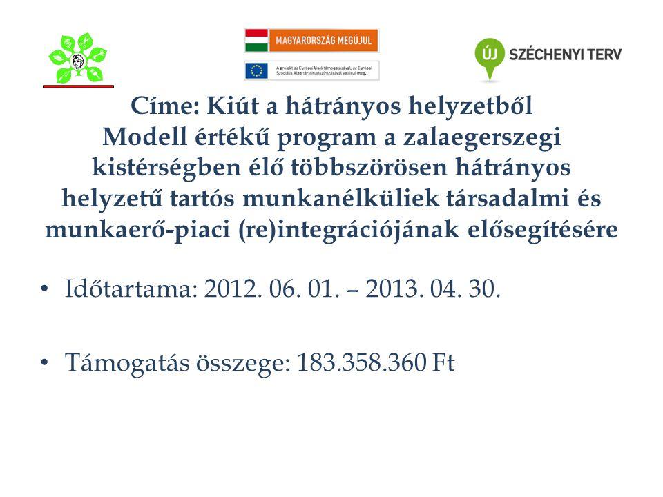 Címe: Kiút a hátrányos helyzetből Modell értékű program a zalaegerszegi kistérségben élő többszörösen hátrányos helyzetű tartós munkanélküliek társadalmi és munkaerő-piaci (re)integrációjának elősegítésére • Időtartama: 2012.