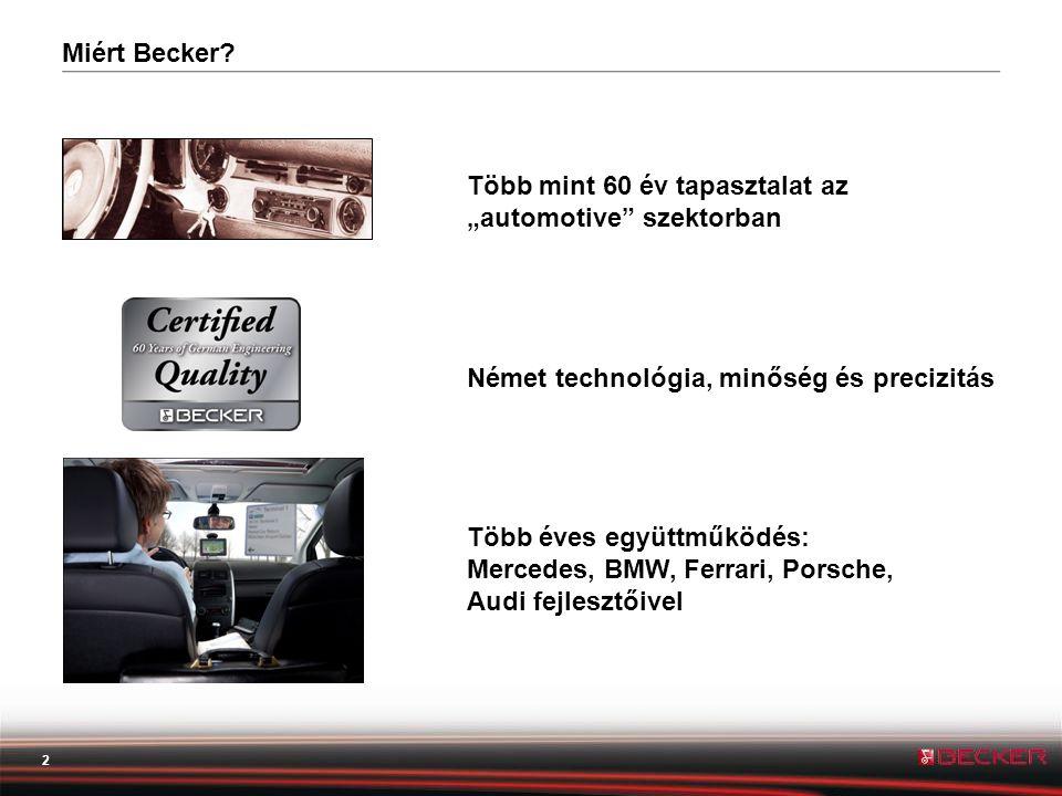 3 Minőség A Becker minőségi navigáció : • részletes térképek • kifinomult hardver • precíz és látványos grafikai elemek • gyors pozícionálás Miért Becker?