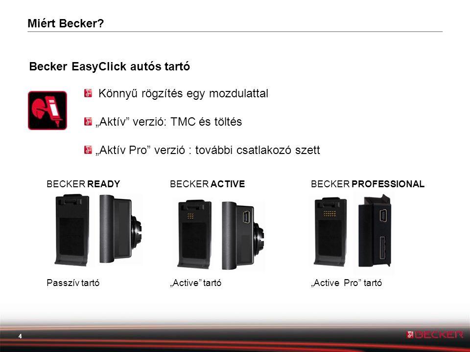 """4 Becker EasyClick autós tartó BECKER READYBECKER ACTIVEBECKER PROFESSIONAL Passzív tartó""""Active tartó """"Active Pro tartó Könnyű rögzítés egy mozdulattal """"Aktív verzió: TMC és töltés """"Aktív Pro verzió : további csatlakozó szett Miért Becker?"""
