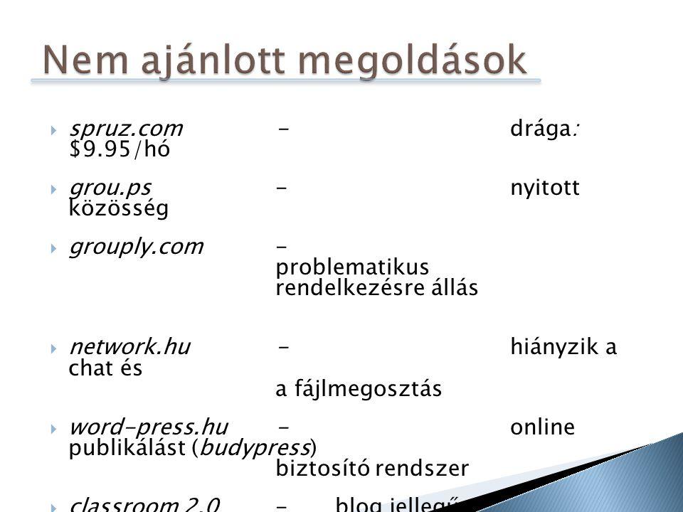  spruz.com-drága: $9.95/hó  grou.ps-nyitott közösség  grouply.com- problematikus rendelkezésre állás  network.hu-hiányzik a chat és a fájlmegosztás  word-press.hu-online publikálást (budypress) biztosító rendszer  classroom 2.0- blog jellegű edmodo.com  Google csoportok- technikai problémák, megszűnt