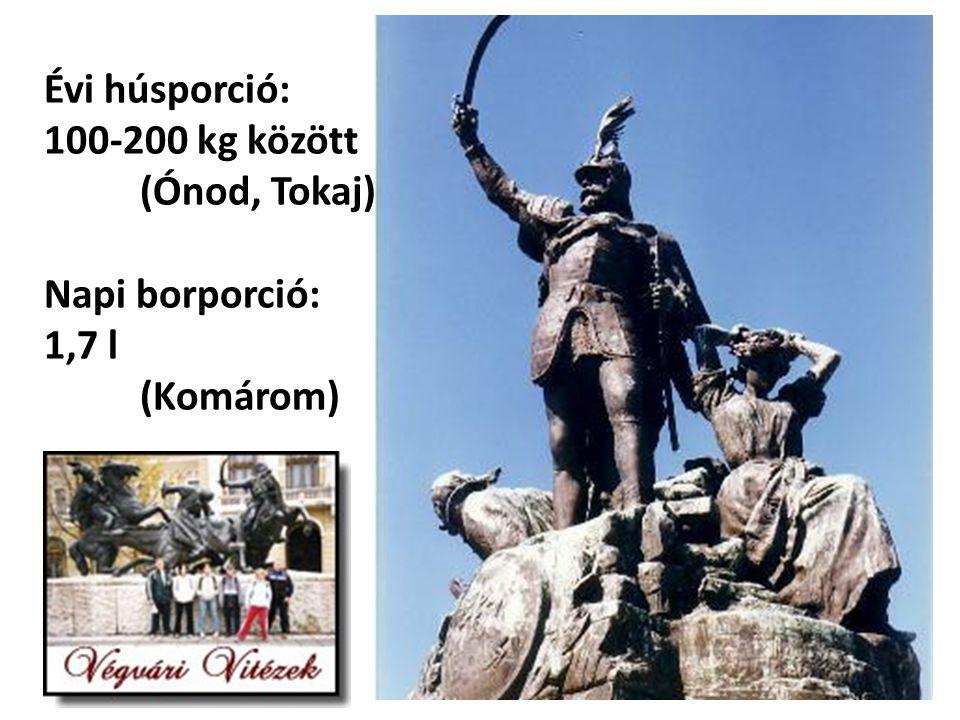 Évi húsporció: 100-200 kg között (Ónod, Tokaj) Napi borporció: 1,7 l (Komárom)