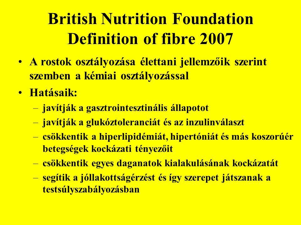 British Nutrition Foundation Definition of fibre 2007 •A rostok osztályozása élettani jellemzőik szerint szemben a kémiai osztályozással •Hatásaik: –javítják a gasztrointesztinális állapotot –javítják a glukóztoleranciát és az inzulinválaszt –csökkentik a hiperlipidémiát, hipertóniát és más koszorúér betegségek kockázati tényezőit –csökkentik egyes daganatok kialakulásának kockázatát –segítik a jóllakottságérzést és így szerepet játszanak a testsúlyszabályozásban