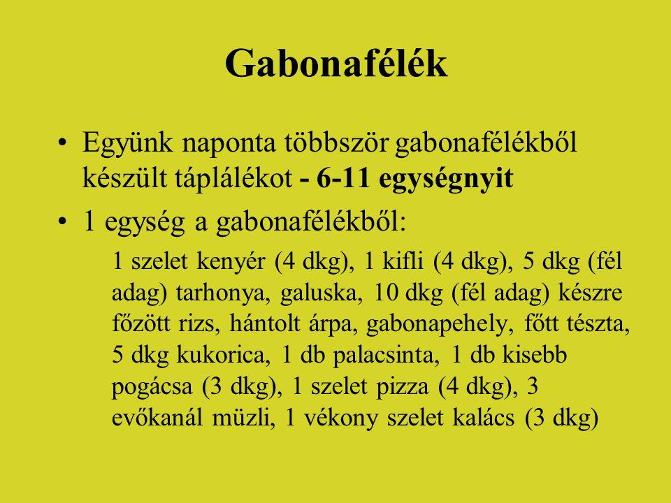Gabonafélék •Együnk naponta többször gabonafélékből készült táplálékot - 6-11 egységnyit •1 egység a gabonafélékből: 1 szelet kenyér (4 dkg), 1 kifli (4 dkg), 5 dkg (fél adag) tarhonya, galuska, 10 dkg (fél adag) készre főzött rizs, hántolt árpa, gabonapehely, főtt tészta, 5 dkg kukorica, 1 db palacsinta, 1 db kisebb pogácsa (3 dkg), 1 szelet pizza (4 dkg), 3 evőkanál müzli, 1 vékony szelet kalács (3 dkg)