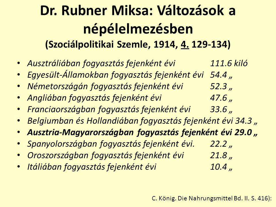 Dr.Rubner Miksa: Változások a népélelmezésben (Szociálpolitikai Szemle, 1914, 4.