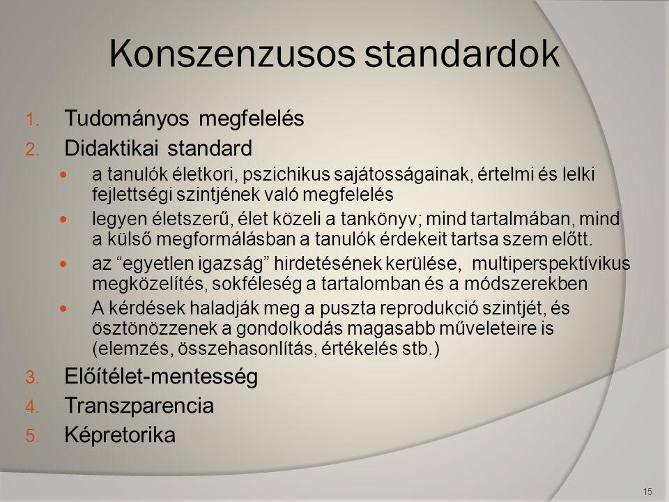 15 Konszenzusos standardok 1. Tudományos megfelelés 2. Didaktikai standard  a tanulók életkori, pszichikus sajátosságainak, értelmi és lelki fejletts