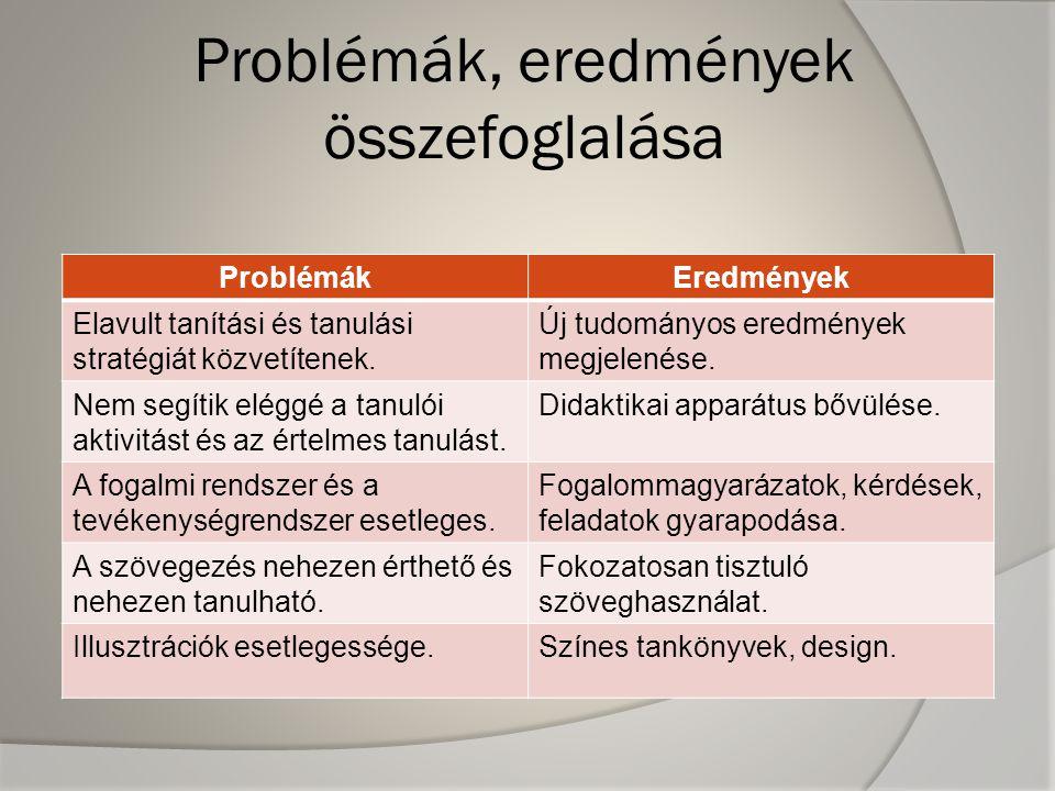 Problémák, eredmények összefoglalása ProblémákEredmények Elavult tanítási és tanulási stratégiát közvetítenek. Új tudományos eredmények megjelenése. N