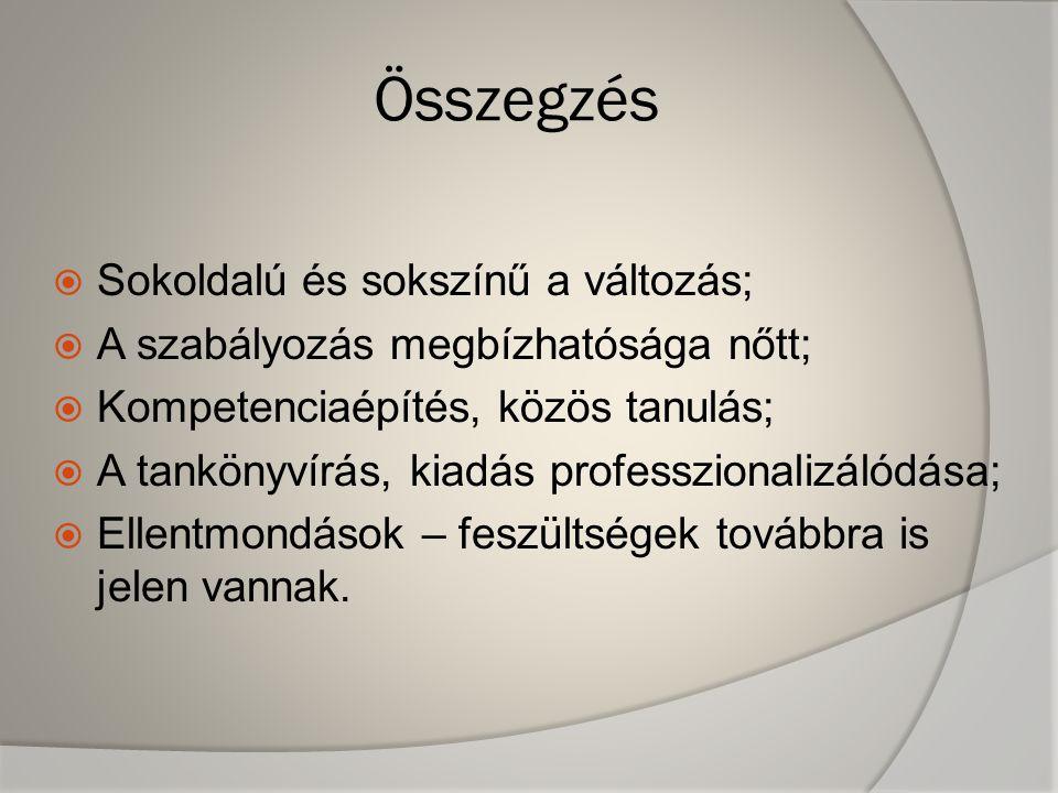 Összegzés  Sokoldalú és sokszínű a változás;  A szabályozás megbízhatósága nőtt;  Kompetenciaépítés, közös tanulás;  A tankönyvírás, kiadás professzionalizálódása;  Ellentmondások – feszültségek továbbra is jelen vannak.
