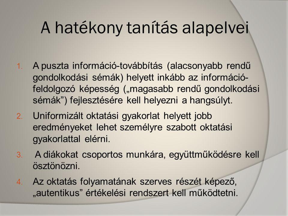 A hatékony tanítás alapelvei 1. A puszta információ-továbbítás (alacsonyabb rendű gondolkodási sémák) helyett inkább az információ- feldolgozó képessé