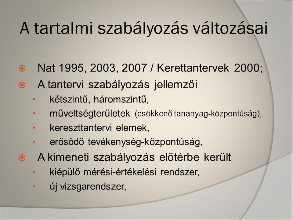 A tartalmi szabályozás változásai  Nat 1995, 2003, 2007 / Kerettantervek 2000;  A tantervi szabályozás jellemzői • kétszintű, háromszintű, • művelts