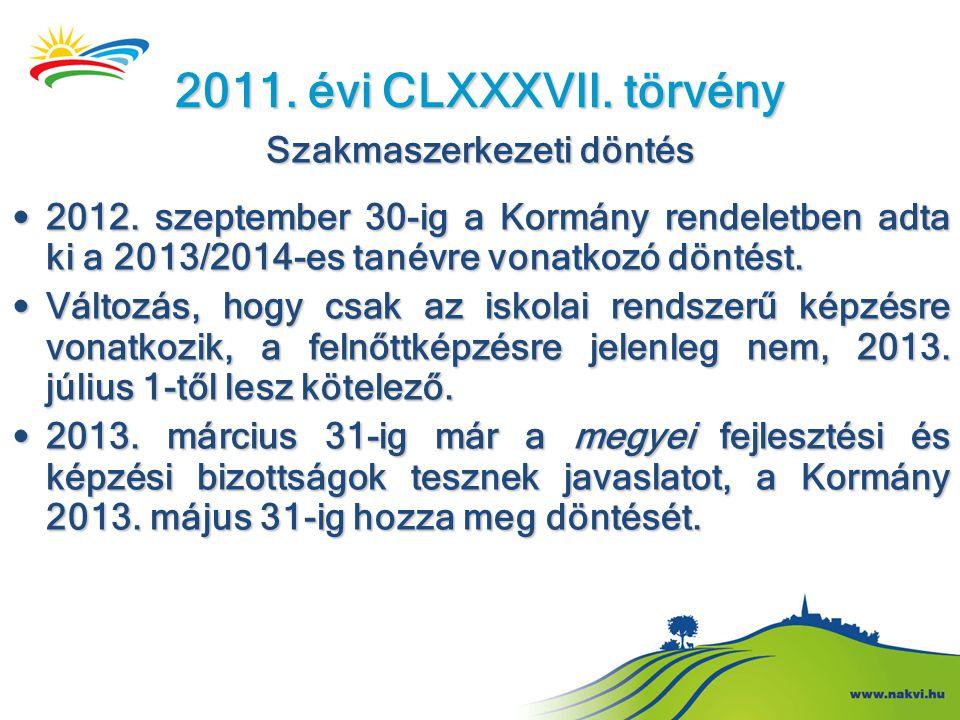 2011. évi CLXXXVII. törvény Szakmaszerkezeti döntés • 2012. szeptember 30-ig a Kormány rendeletben adta ki a 2013/2014-es tanévre vonatkozó döntést. •
