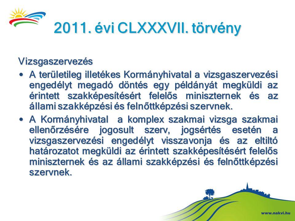 2011. évi CLXXXVII. törvény Vizsgaszervezés • A területileg illetékes Kormányhivatal a vizsgaszervezési engedélyt megadó döntés egy példányát megküldi