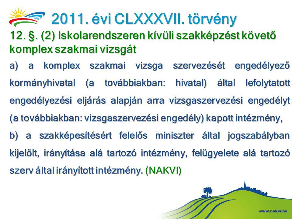 2011. évi CLXXXVII. törvény 12. §. (2) Iskolarendszeren kívüli szakképzést követő komplex szakmai vizsgát a) a komplex szakmai vizsga szervezését enge