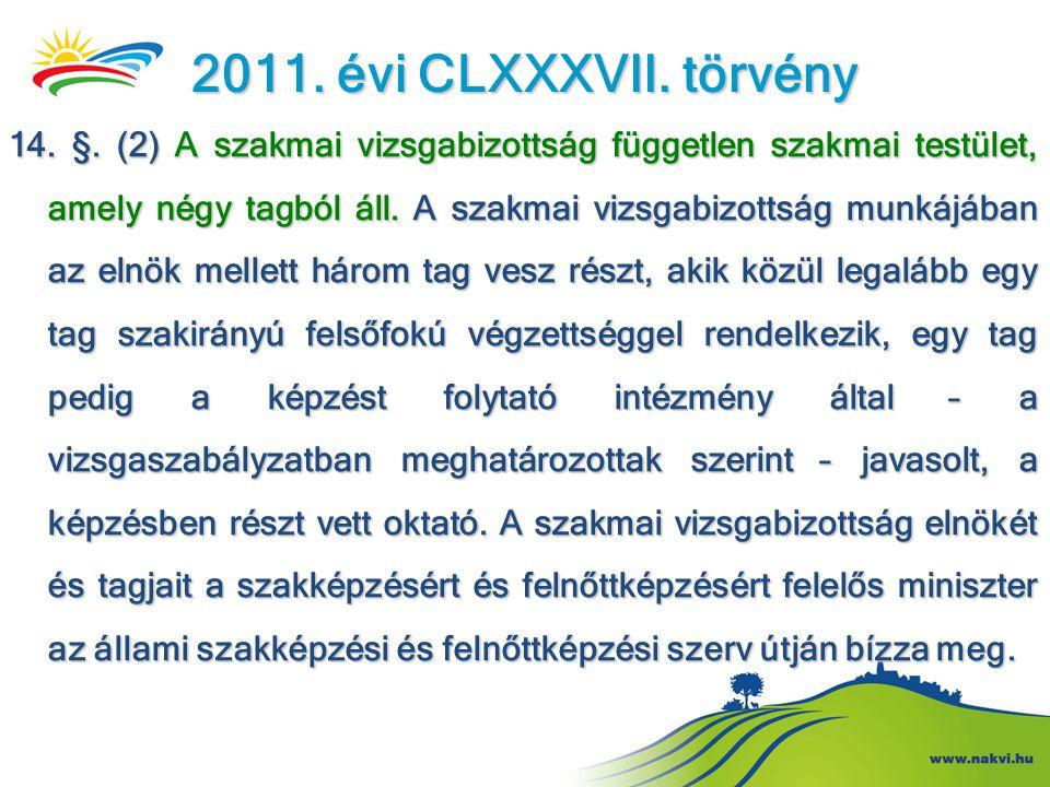 2011. évi CLXXXVII. törvény 14. §. (2) A szakmai vizsgabizottság független szakmai testület, amely négy tagból áll. A szakmai vizsgabizottság munkájáb
