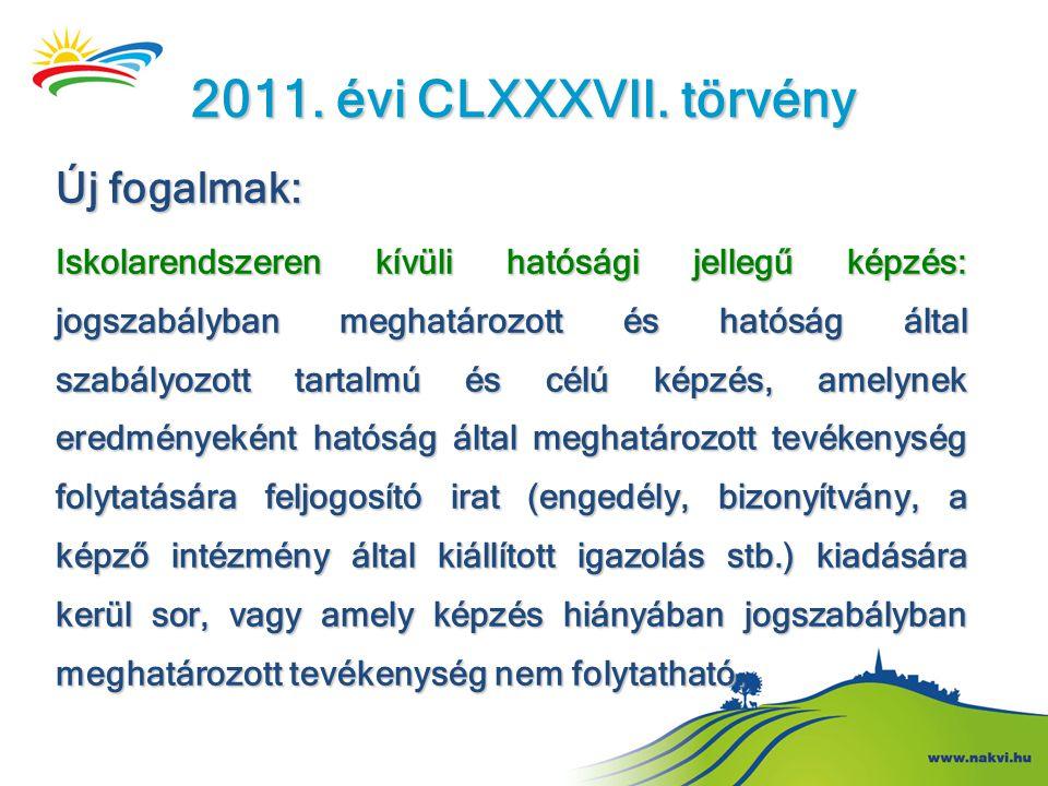 2011. évi CLXXXVII. törvény Új fogalmak: Iskolarendszeren kívüli hatósági jellegű képzés: jogszabályban meghatározott és hatóság által szabályozott ta