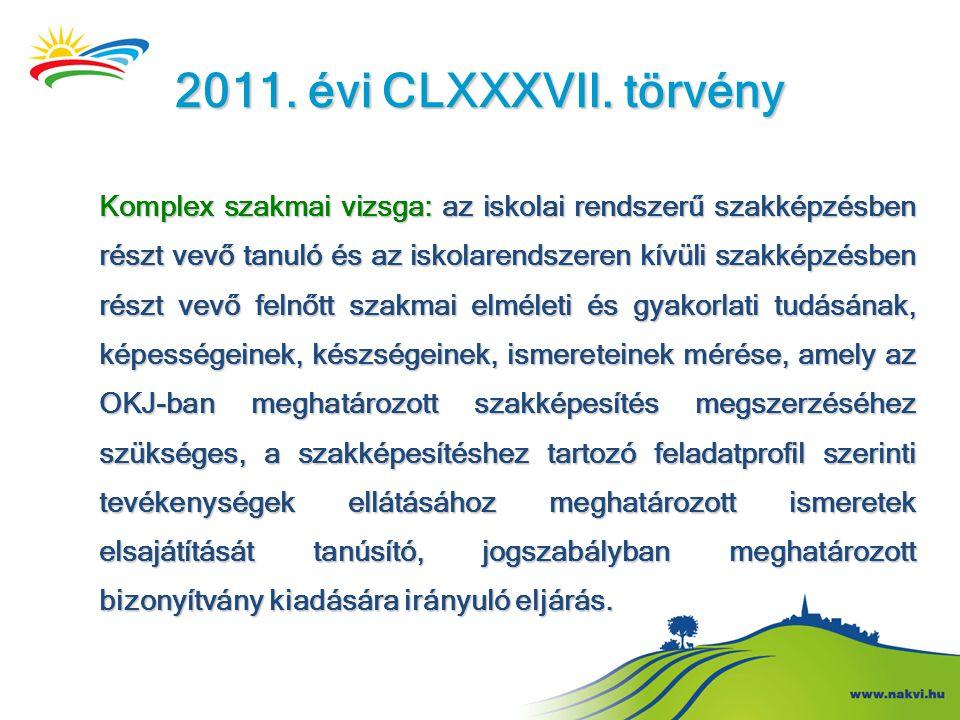 2011. évi CLXXXVII. törvény Komplex szakmai vizsga: az iskolai rendszerű szakképzésben részt vevő tanuló és az iskolarendszeren kívüli szakképzésben r