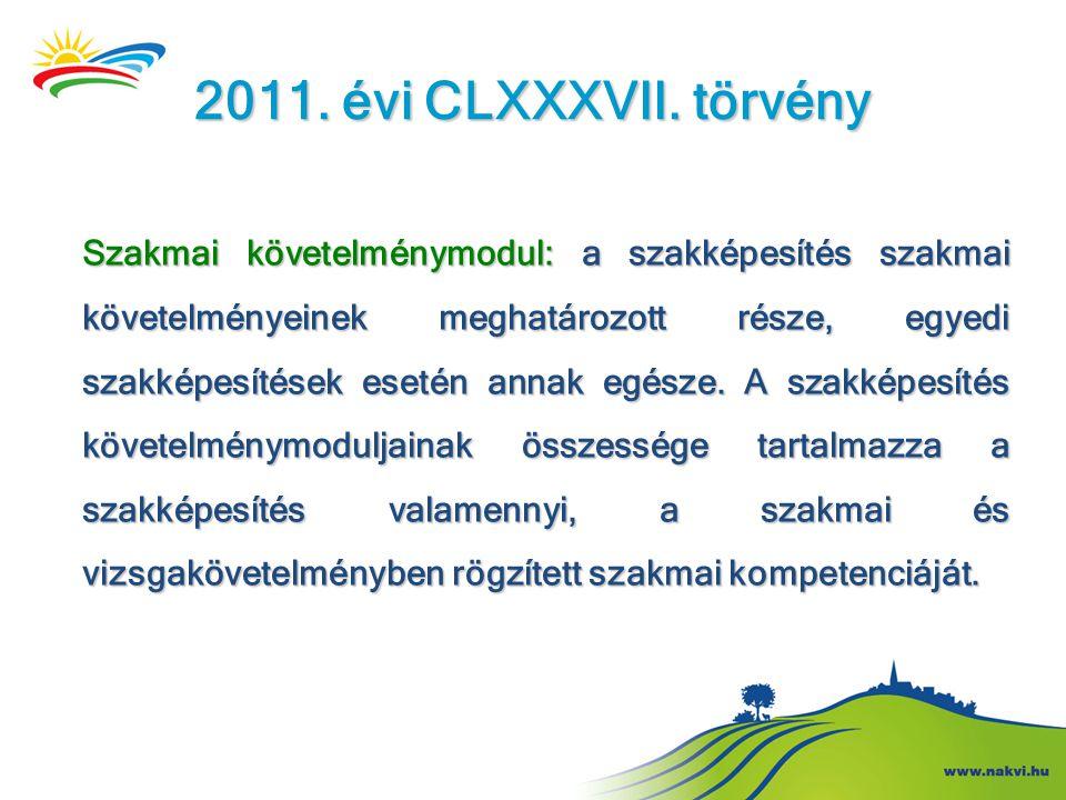 2011. évi CLXXXVII. törvény Szakmai követelménymodul: a szakképesítés szakmai követelményeinek meghatározott része, egyedi szakképesítések esetén anna