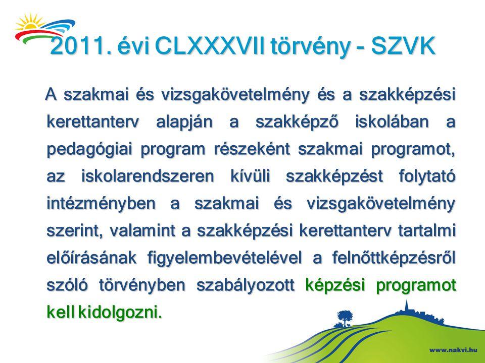 2011. évi CLXXXVII törvény - SZVK A szakmai és vizsgakövetelmény és a szakképzési kerettanterv alapján a szakképző iskolában a pedagógiai program rész