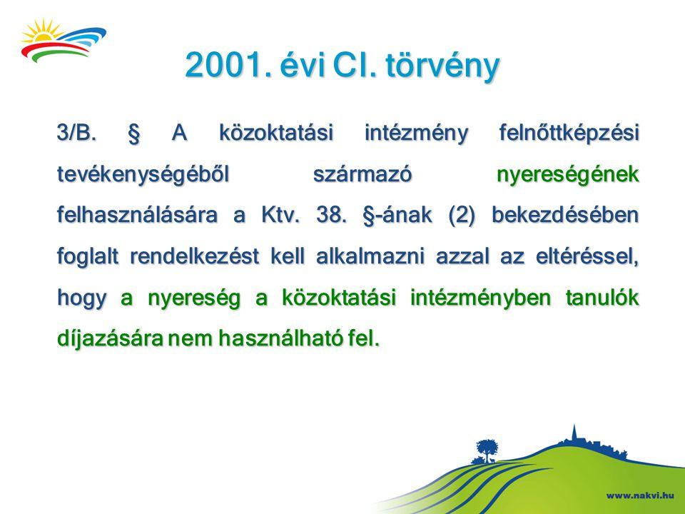 2001. évi CI. törvény 3/B. § A közoktatási intézmény felnőttképzési tevékenységéből származó nyereségének felhasználására a Ktv. 38. §-ának (2) bekezd