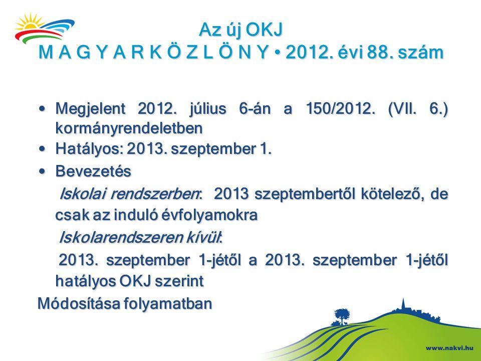 Az új OKJ M A G Y A R K Ö Z L Ö N Y • 2012. évi 88. szám • Megjelent 2012. július 6-án a 150/2012. (VII. 6.) kormányrendeletben • Hatályos: 2013. szep