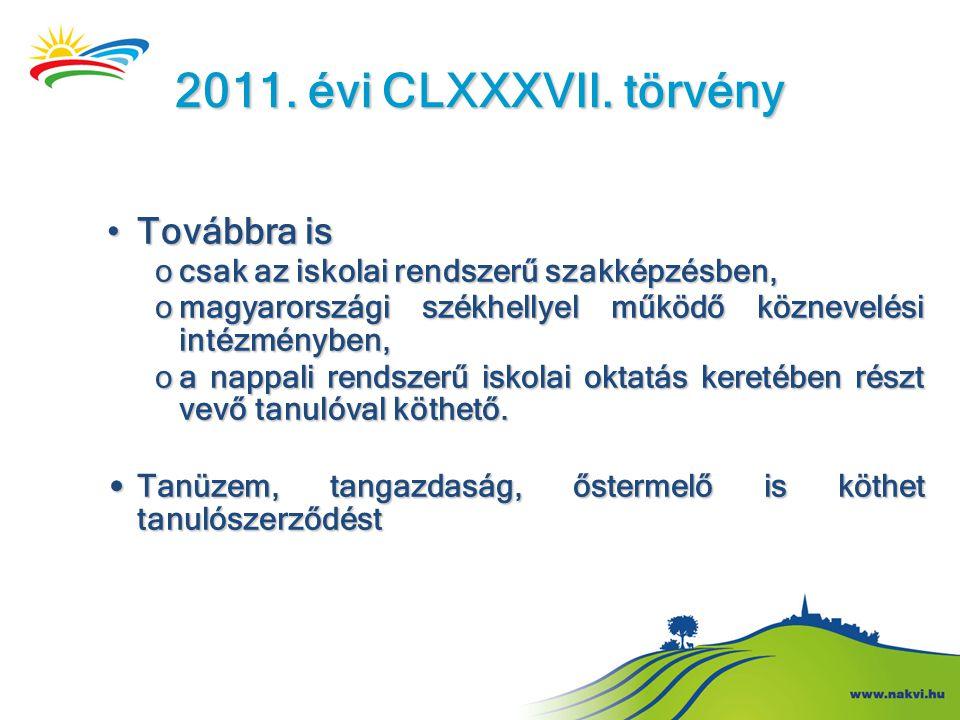 2011. évi CLXXXVII. törvény •Továbbra is ocsak az iskolai rendszerű szakképzésben, omagyarországi székhellyel működő köznevelési intézményben, oa napp