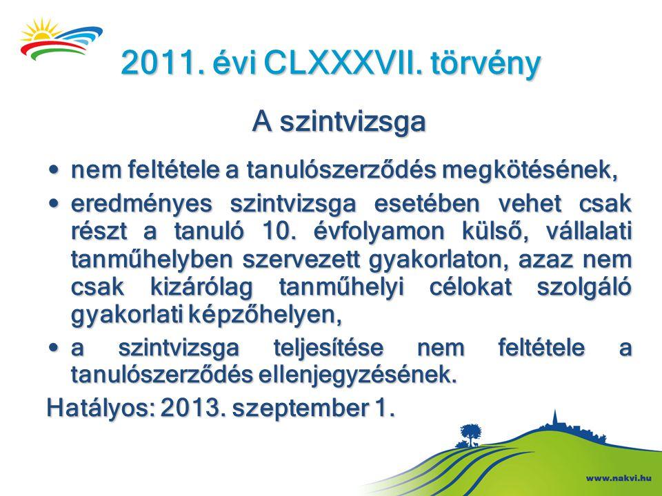 2011. évi CLXXXVII. törvény A szintvizsga • nem feltétele a tanulószerződés megkötésének, • eredményes szintvizsga esetében vehet csak részt a tanuló