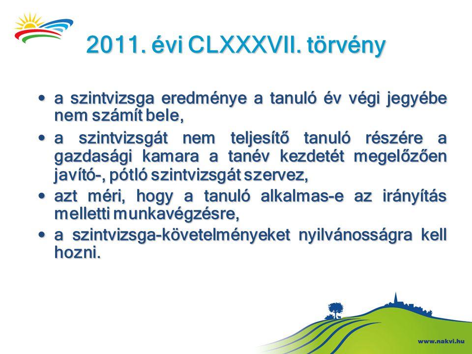 2011. évi CLXXXVII. törvény • a szintvizsga eredménye a tanuló év végi jegyébe nem számít bele, • a szintvizsgát nem teljesítő tanuló részére a gazdas