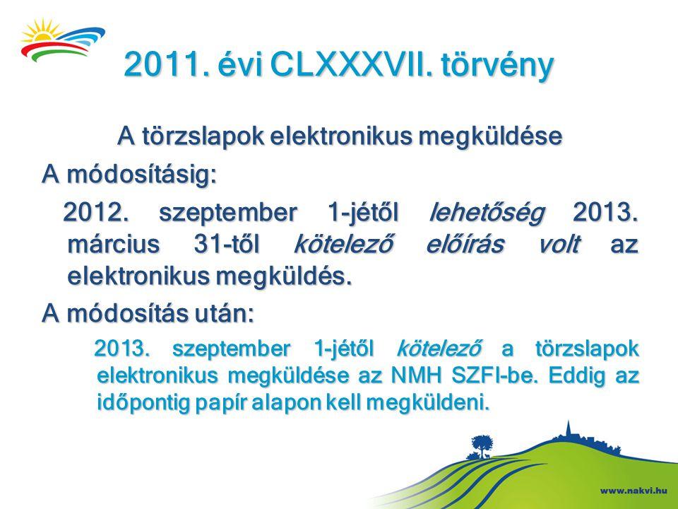 2011. évi CLXXXVII. törvény A törzslapok elektronikus megküldése A módosításig: 2012. szeptember 1-jétől lehetőség 2013. március 31-től kötelező előír