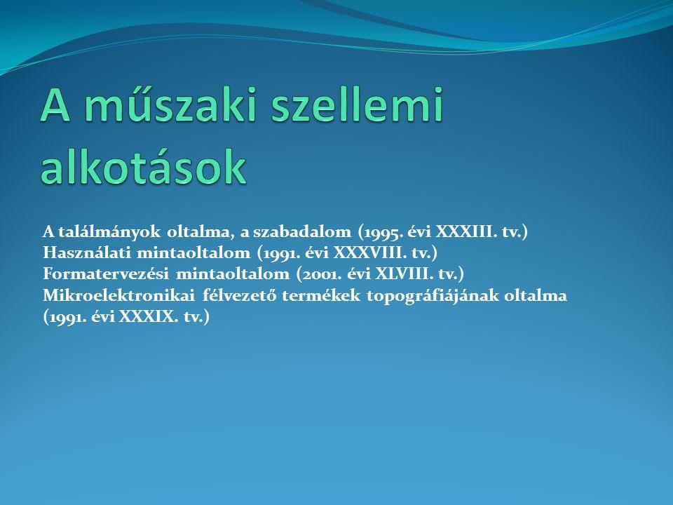 A találmányok oltalma, a szabadalom (1995. évi XXXIII. tv.) Használati mintaoltalom (1991. évi XXXVIII. tv.) Formatervezési mintaoltalom (2001. évi XL