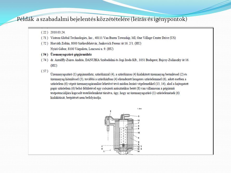 Példák a szabadalmi bejelentés közzétételére (leírás és igénypontok)