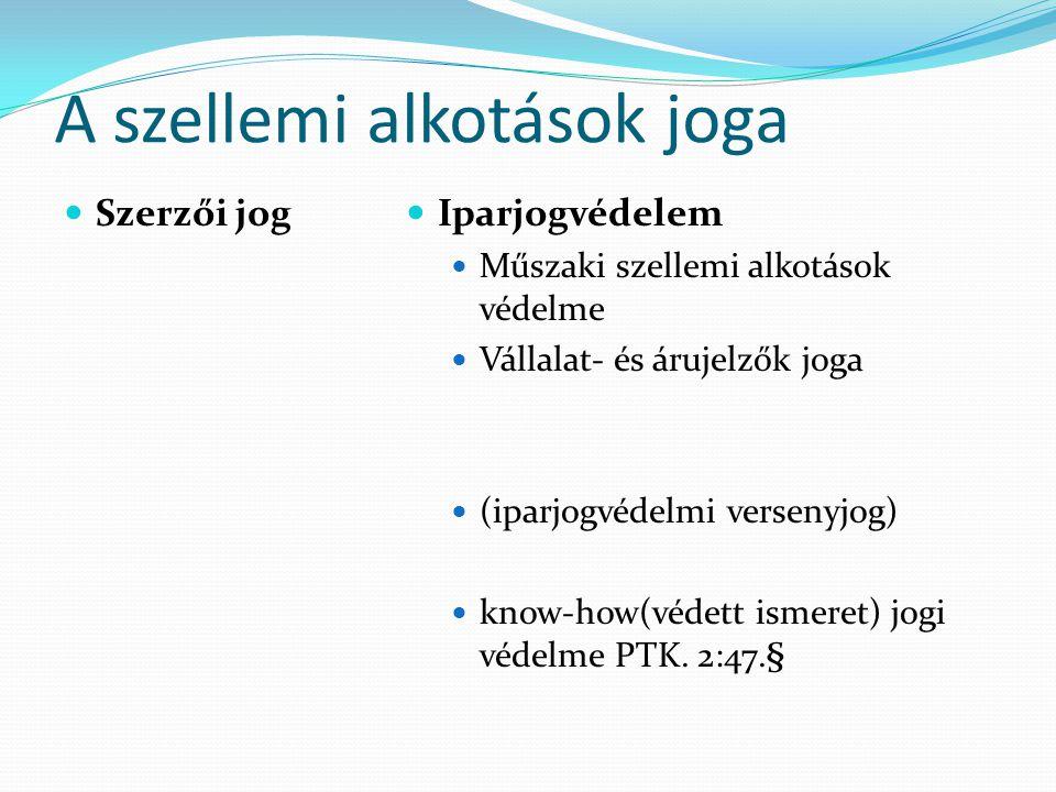 A szellemi alkotások joga  Szerzői jog  Iparjogvédelem  Műszaki szellemi alkotások védelme  Vállalat- és árujelzők joga  (iparjogvédelmi versenyjog)  know-how(védett ismeret) jogi védelme PTK.