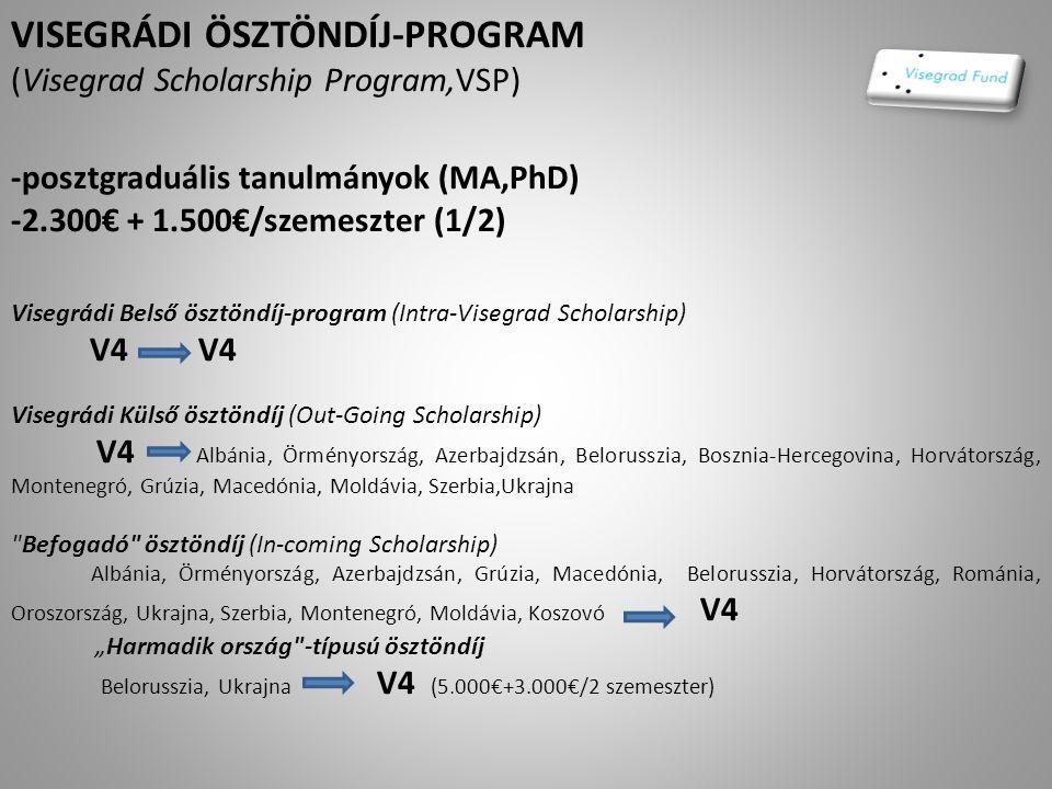 """VISEGRÁDI ÖSZTÖNDÍJ-PROGRAM (Visegrad Scholarship Program,VSP) -posztgraduális tanulmányok (MA,PhD) -2.300€ + 1.500€/szemeszter (1/2) Visegrádi Belső ösztöndíj-program (Intra-Visegrad Scholarship) V4 V4 Visegrádi Külső ösztöndíj (Out-Going Scholarship) V4 Albánia, Örményország, Azerbajdzsán, Belorusszia, Bosznia-Hercegovina, Horvátország, Montenegró, Grúzia, Macedónia, Moldávia, Szerbia,Ukrajna Befogadó ösztöndíj (In-coming Scholarship) Albánia, Örményország, Azerbajdzsán, Grúzia, Macedónia, Belorusszia, Horvátország, Románia, Oroszország, Ukrajna, Szerbia, Montenegró, Moldávia, Koszovó V4 """"Harmadik ország -típusú ösztöndíj Belorusszia, Ukrajna V4 (5.000€+3.000€/2 szemeszter)"""