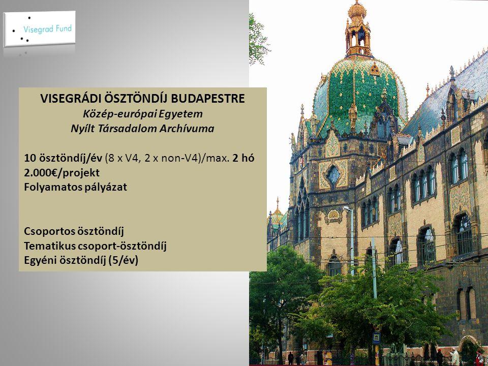 VISEGRÁDI ÖSZTÖNDÍJ BUDAPESTRE Közép-európai Egyetem Nyílt Társadalom Archívuma 10 ösztöndíj/év (8 x V4, 2 x non-V4)/max.