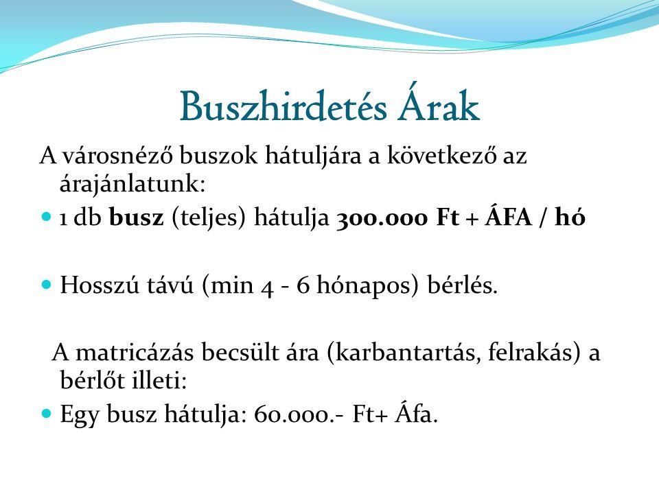 Buszhirdetés Árak A városnéző buszok hátuljára a következő az árajánlatunk:  1 db busz (teljes) hátulja 300.000 Ft + ÁFA / hó  Hosszú távú (min 4 -