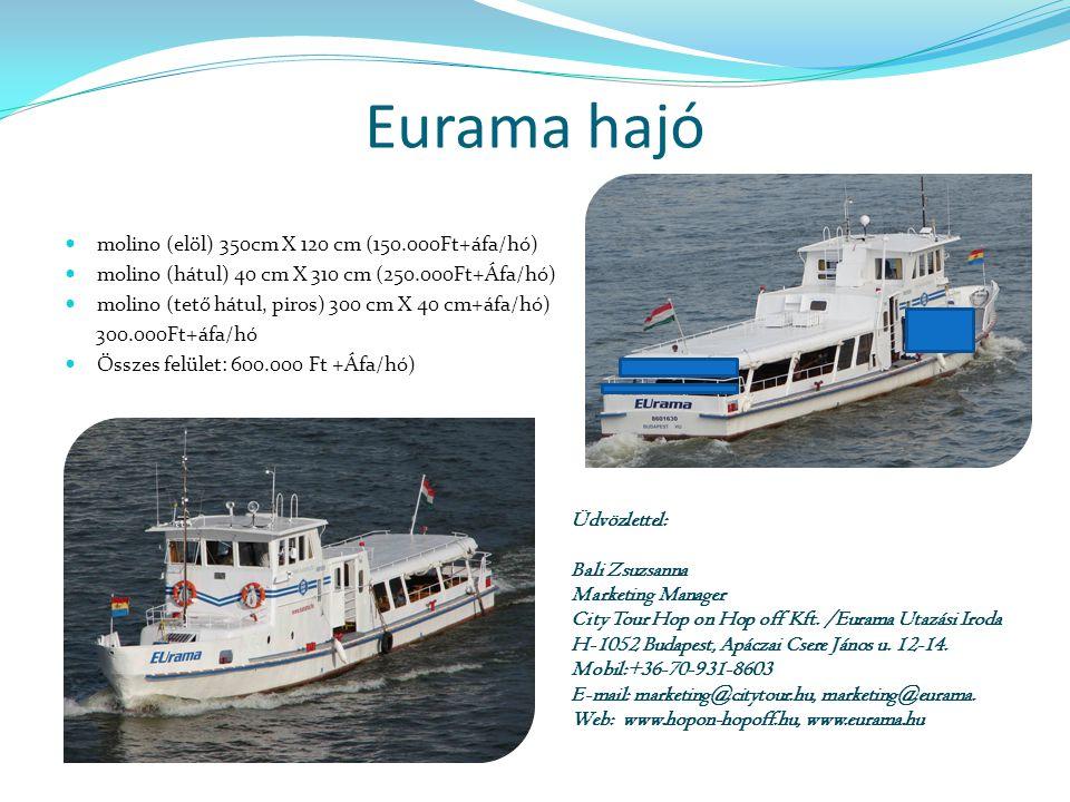 Eurama hajó  molino (elöl) 350cm X 120 cm (150.000Ft+áfa/hó)  molino (hátul) 40 cm X 310 cm (250.000Ft+Áfa/hó)  molino (tető hátul, piros) 300 cm X