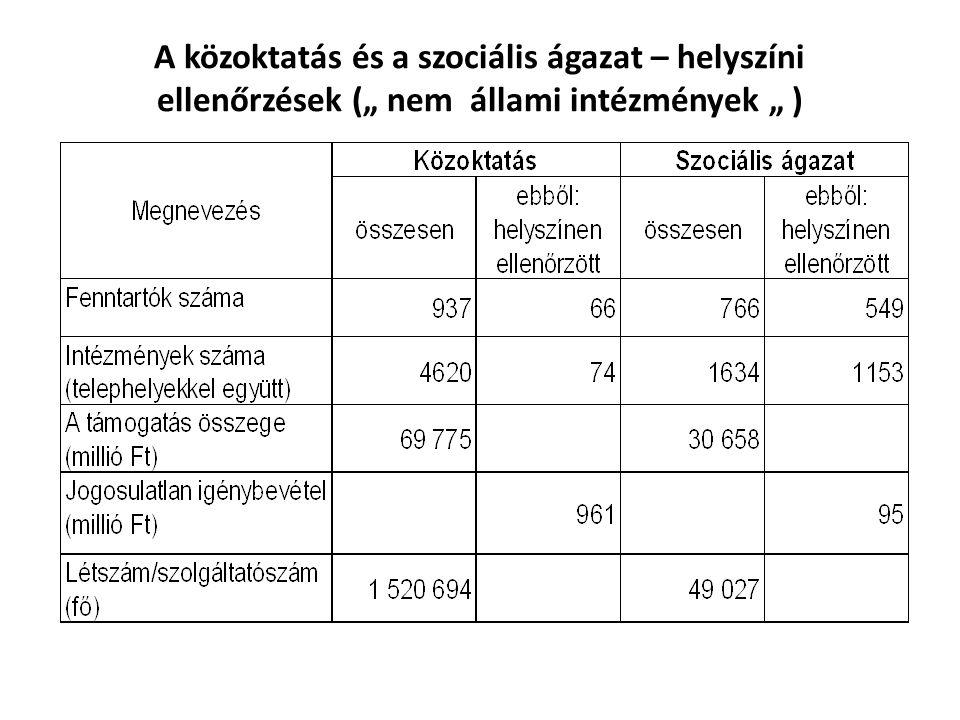 """A közoktatás és a szociális ágazat – helyszíni ellenőrzések ("""" nem állami intézmények """" )"""