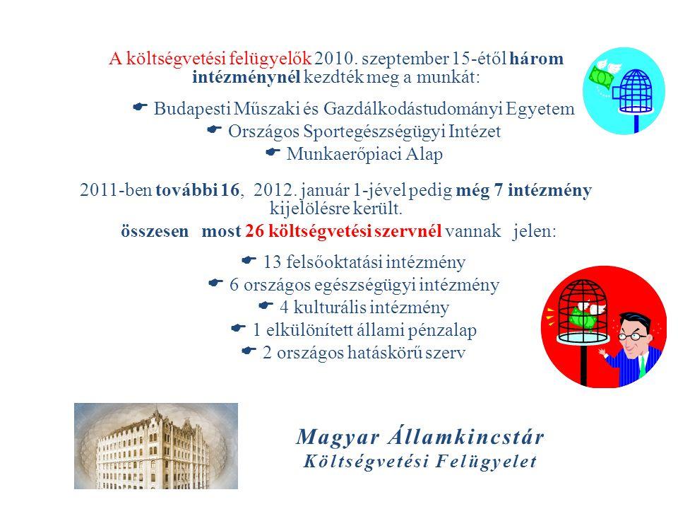 Magyar Államkincstár Költségvetési Felügyelet A költségvetési felügyelők 2010. szeptember 15-étől három intézménynél kezdték meg a munkát:  Budapesti