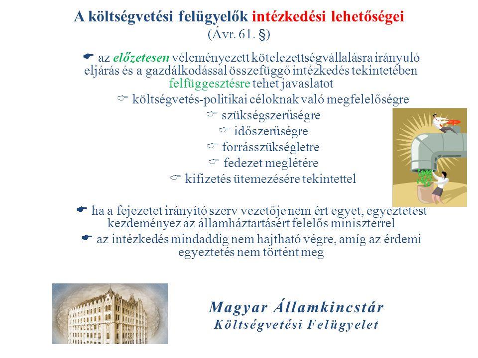 Magyar Államkincstár Költségvetési Felügyelet A költségvetési felügyelők intézkedési lehetőségei (Ávr. 61. §)  az előzetesen véleményezett kötelezett