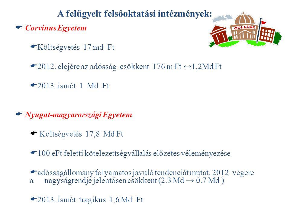 A felügyelt felsőoktatási intézmények:  Corvinus Egyetem  Költségvetés 17 md Ft  2012. elejére az adósság csökkent 176 m Ft ↔1,2Md Ft  2013. ismét