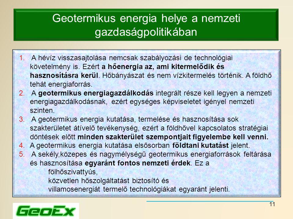 11 Geotermikus energia helye a nemzeti gazdaságpolitikában 1. A hévíz visszasajtolása nemcsak szabályozási de technológiai követelmény is. Ezért a hőe